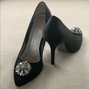 Martinez Valero Black Satin Jeweled Holiday Pump